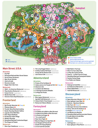 Mapa de Disneyland Paris, Disney Land Paris, Eurodisney Paris, Euro Disney Paris