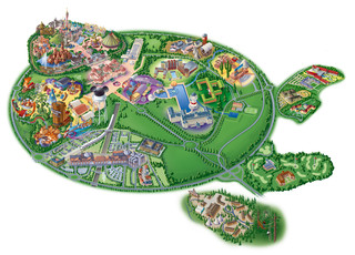 Mapa do parque de Disneyland, Disney Land, Eurodisney, Euro Disney de Paris